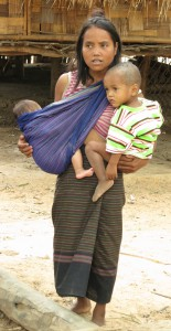 Laotian mom with two babies